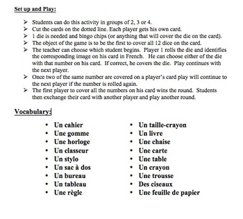 12 French Vocabulary Speaking Activities with Dice for Small Groups