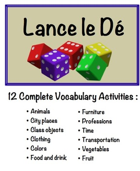12 French Vocabulary Speaking Activities with Dice for Sma