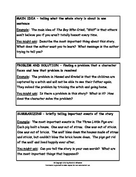 12 Comprehension Strategies for Young Readers-Letter of Explanation for Parents