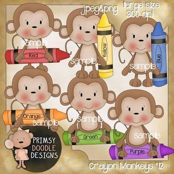 12-Crayon Monkeys 300 dpi Clipart