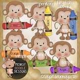 12-Crayon Monkeys 300 dpi Clipart