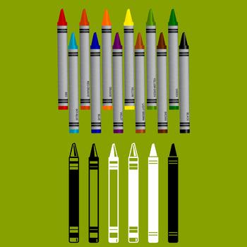 18 Crayons (Vector Art) Various Colors & Line Art Variations