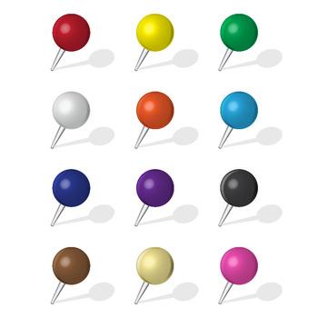 12 Push Pins (Ball Head) Various Colors