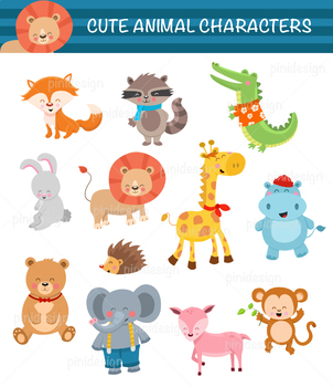 12 Cute Cartoon Animals Clip Art