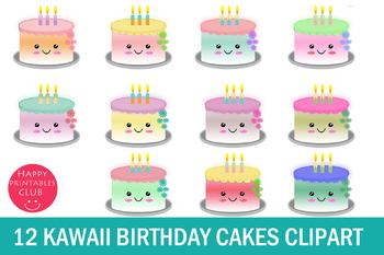 Amazing 12 Cute Kawaii Birthday Cakes Clipart Kawaii Cake Clipart Tpt Funny Birthday Cards Online Aboleapandamsfinfo