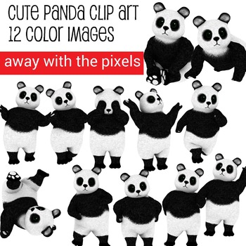 12 Cute Panda Clip Art Images - Commercial Use OK
