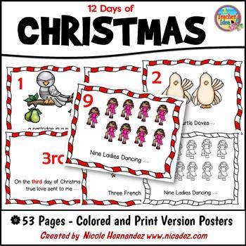 12 DAYS OF CHRISTMAS Visual Aids