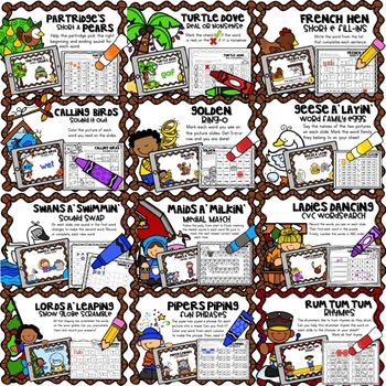 12 DIGITAL DAYS of CVC CHRISTMAS CENTERS {for your Google Classroom}