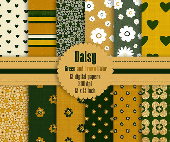 12 Daisy Flower Digital Paper in Green and Brown Color