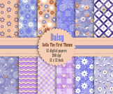 12 Daisy Flower Digital Paper in Sofia The First Theme Color