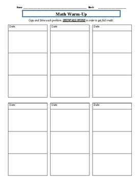 12 Day Math Warm-Up Student Worksheet