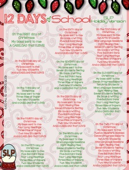 12 Day of Christmas: SLP Holiday Version