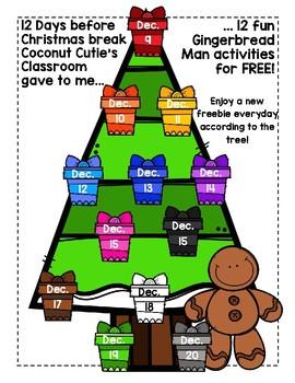 12 Days Before Christmas Break Gingerbread Man FREEBIES