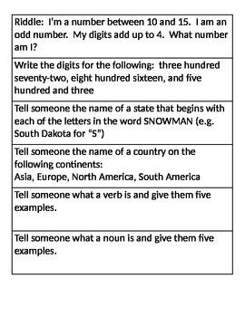 12 Days of Christmas 2nd Grade Homework Chain