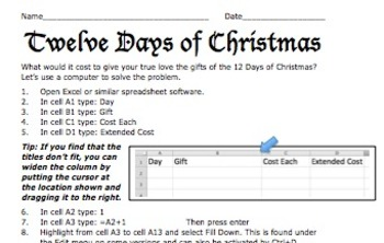 12 Days of Christmas: A Computer Spreadsheet Activity