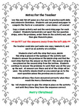 Christmas Math - 12 Days of Christmas Add 'Em Up! Math Activity
