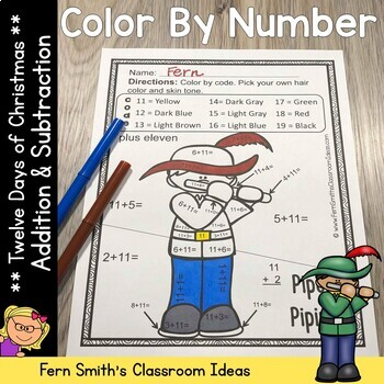 Color By Numbers Twelve Days of Christmas Math Addition and Subtraction