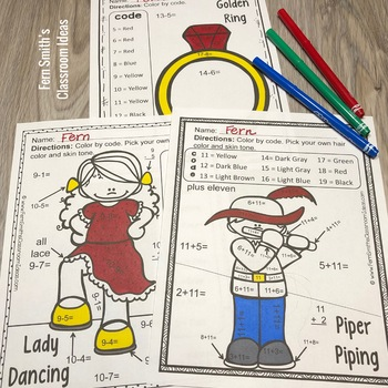 Christmas Color By Number Twelve Days of Christmas Addition & Subtraction Bundle