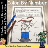 Color By Numbers Twelve Days of Christmas Math Addition an
