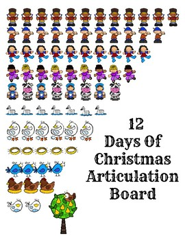 12 Days of Christmas Articulation Boards and Spinner Game