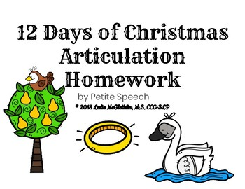 12 Days of Christmas Articulation Homework