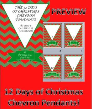 12 Days of Christmas Chevron Pendants - Editable!