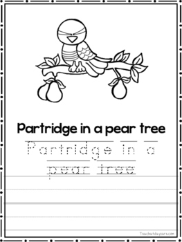 12 Days of Christmas Coloring Book worksheets.  Preschool-2nd Grade