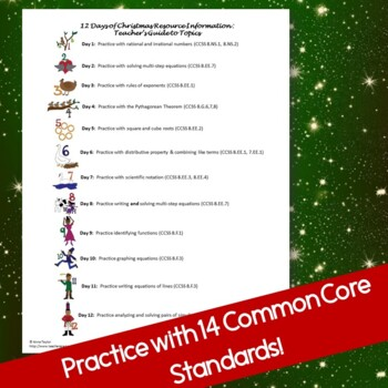 8th Grade Math Common Core Test Prep 12 Days of Christmas Stations