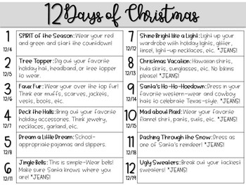 12 Days of Christmas Countdown Outfits. Dress Up Days Calendar