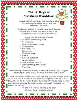 12 Days of Christmas Countdown - Freebie