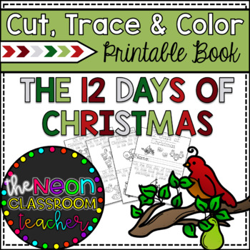 """12 Days of Christmas"" Cut, Trace & Color Printable Book"