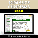 12 Days of Christmas Digital 5th Grade Math Activities
