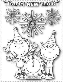 12 Days of Christmas FREEBIE Day 10 {New Year's Day Coloring Sheets}