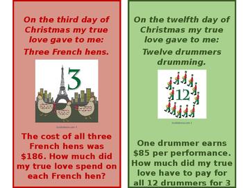 12 Days of Christmas Holiday Math Set