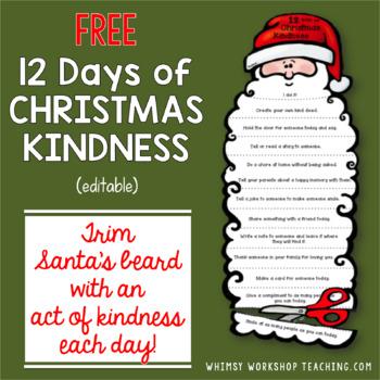 12 Days of Christmas Kindness (Editable)