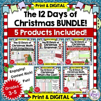 12 Days of Christmas Math, Grammar and Geography Bundle of