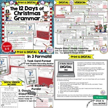 12 Days of Christmas Math, Grammar and Geography Bundle of 5 Products!