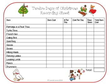 12 Days of Christmas Math Activity {with optional Augmented Reality}