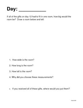 12 Days of Christmas Math Journal