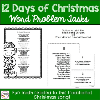 12 Days of Christmas Math Problems