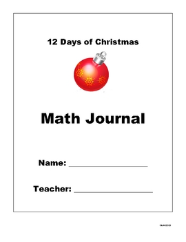 12 Days of Christmas Math Writing Journal