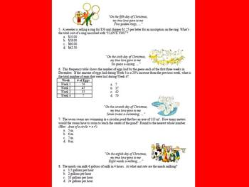 12 Days of Christmas ~ Middle School Math Review