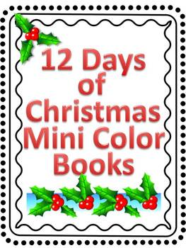 12 days of christmas mini coloring book - 12 Days Of Christmas Book