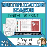 12 Days of Christmas Multiplication Number Search Print or