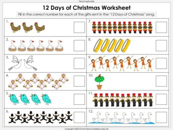 12 Days of Christmas - Music and Math (Counting Forwards and Backwards)