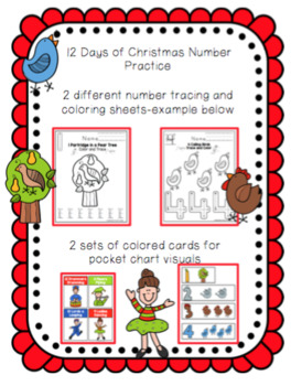12 Days of Christmas Number Tracing