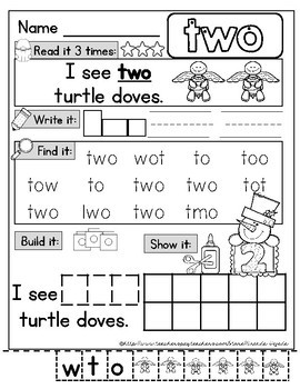 12 Days of Christmas Number Word Practice Pages