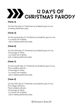 12 Days of Christmas Parody