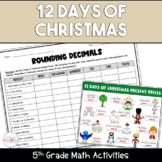 12 Days of Christmas Printable 5th Grade Math Activities