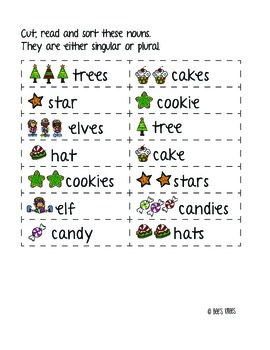 12 Days of Christmas: Singular Plural Noun Sort by Edunista | TpT